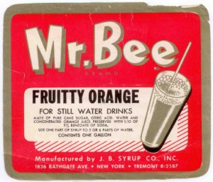 Mr Bee County Soda Label